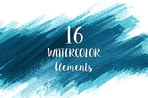 16 Blue Watercolor Design Elements