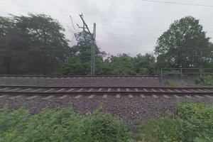 360 video. Train passes near park