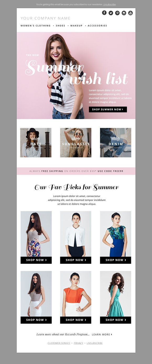 Fashion Email Template PSD Bundle Email Templates Creative Market - Email blast templates
