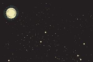 Retro Stars and Moon Background ~ Illustrations ~ Creative ...