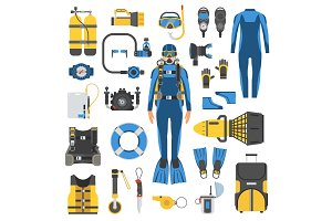 Scuba Diving Elements and Gear Set