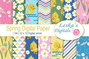 Spring Duck Pond Digital Paper Pack