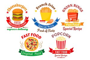 Fast food emblems and banners