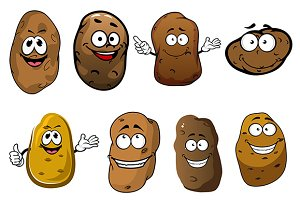 Funny ripe potatoes vegetables