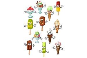 Ice cream dessert characters