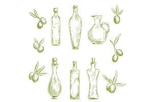 Organic olive oil bottles