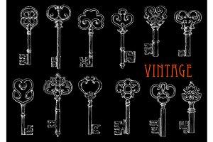Vintage victorian skeleton keys
