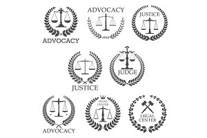 Lawyer service and legal icons