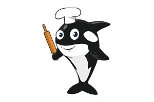 Funny cartoon killer whale baker
