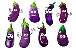 Glossy violet eggplants vegetables