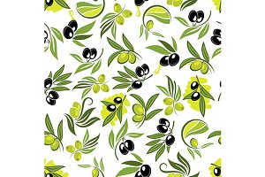 Olive tree branches pattern