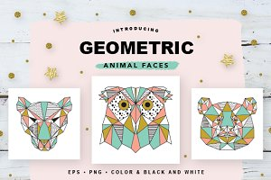 Geometric Animal Faces EPS and PNG