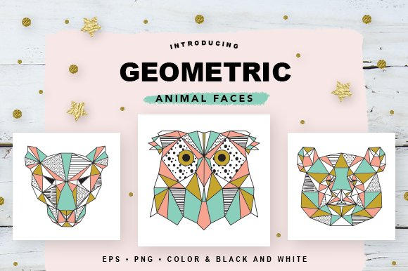 Geometric Animal Faces EPS and PNG ~ Illustrations ~ Creative Market