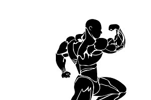 bodybuilding icon, muscles, vector