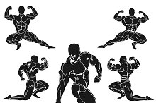 set of bodybuilding icons, muscles