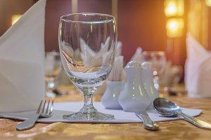 Elegance of glasses on table set
