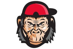 Angry Chimpanzee Head Baseball Cap