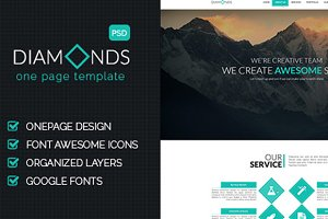 Diamonds - Onepage PSD Template