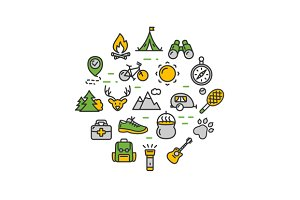 Camping Tourism Hiking Round Icon
