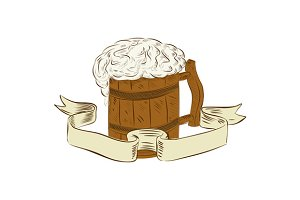 Medieval Beer Mug Foam Drawing