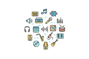 Music Round Design Icon Set