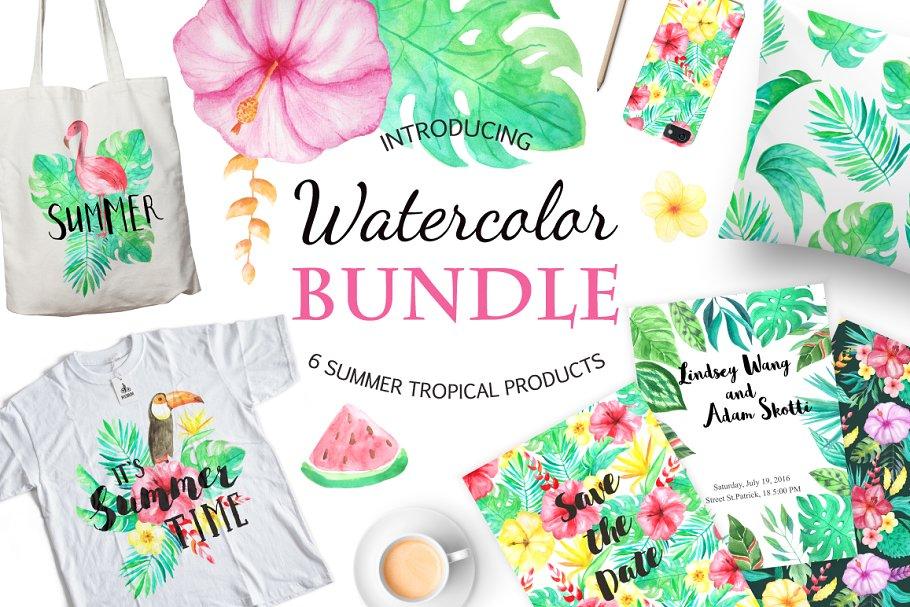 Summer Design Set-Tropical ~ Illustrations ~ Creative Market