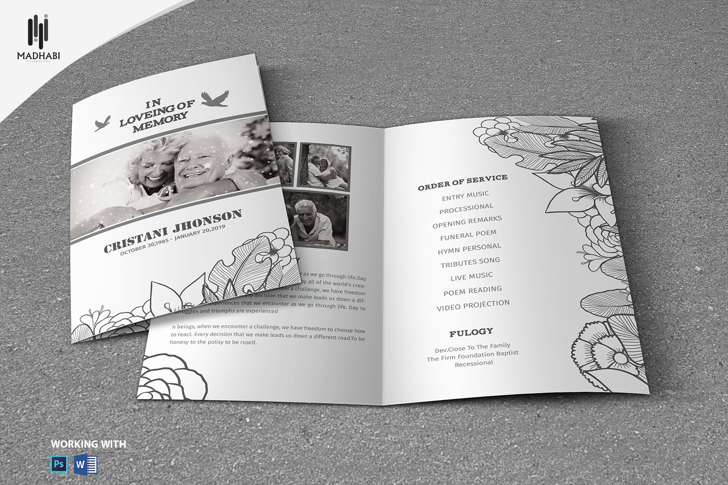 Black White Style Funeral Template Brochure Templates Creative