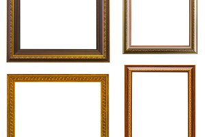 Gold frame Elegant vintage on white