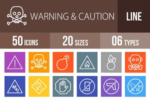 50 Warning Line Multicolor Icons