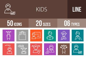 50 Kids Line Multicolor Icons