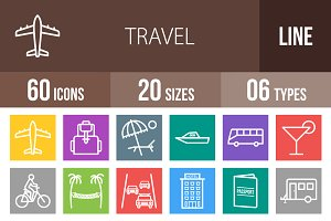 60 Travel Line Multicolor Icons
