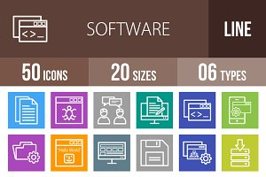 50 Software Line Multicolor Icons