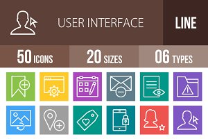 50 Interface Line Multicolor Icons