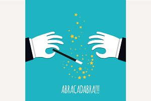 Abracadabra cartoon concept.
