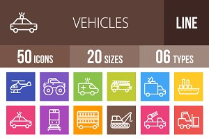 50 Vehicles Line Multicolor Icons