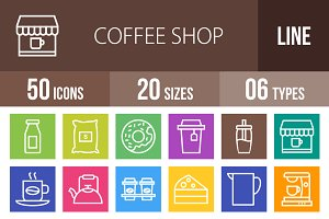 50 Coffee Shop Line Multicolor Icons