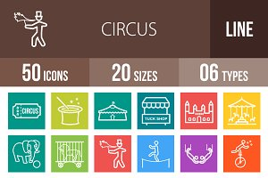 50 Circus Line Multicolor Icons