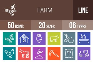 50 Farm Line Multicolor Icons