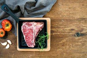 Raw uncooked meat t-bone steak