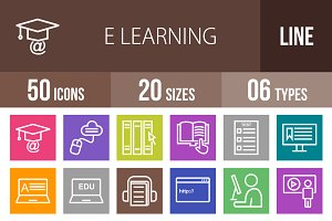 50 E Learning Line Multicolor Icons