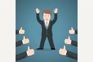 Successful businessman acknowledging