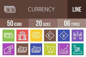 50 Currency Line Multicolor Icons