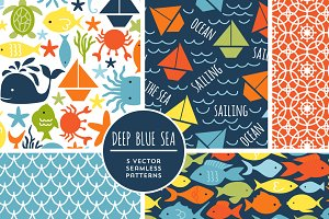 Deep Blue Sea Vector Patterns