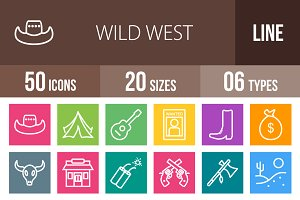50 Wild West Line Multicolor Icons