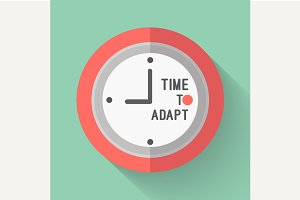 A clock with the words TIme to Adapt