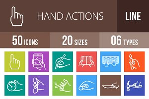 50 Hand Line Multicolor Icons