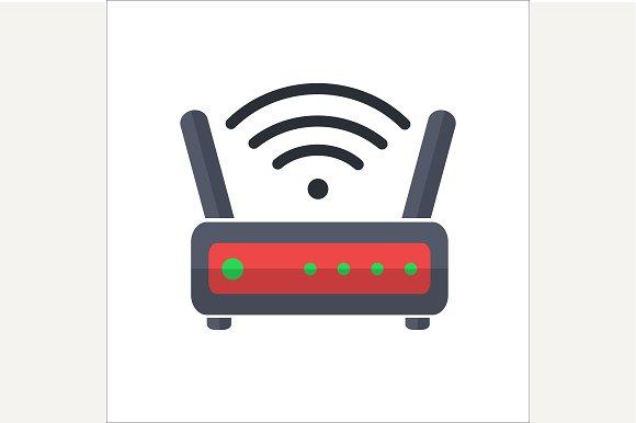 Wi fi wireless router web icon ~ Icons ~ Creative Market