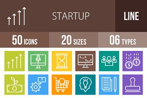 50 Startup Line Multicolor Icons