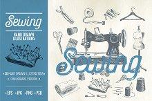 Hand drawn sewing illustrations