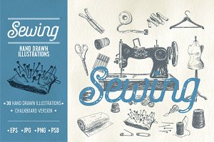 Hand drawn sewing illustrations